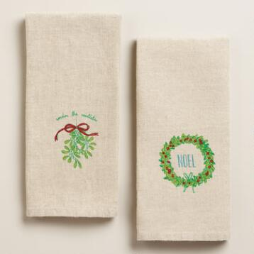 Holiday Linen Hand Towels, Set of 2