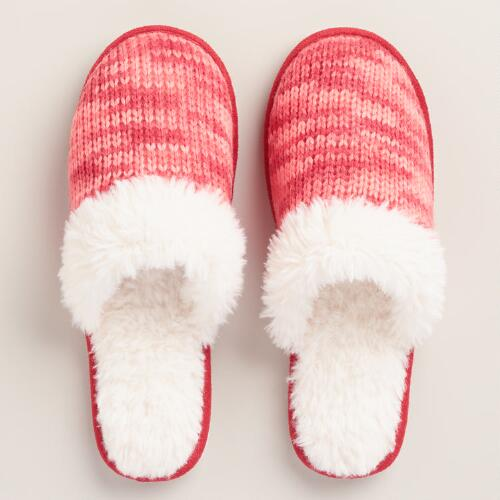 Coral Knit Shearling Slippers