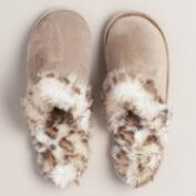 Faux Fur Taupe Slippers