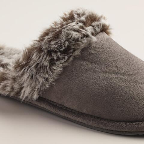 Faux Fur Dark Brown Slippers World Market