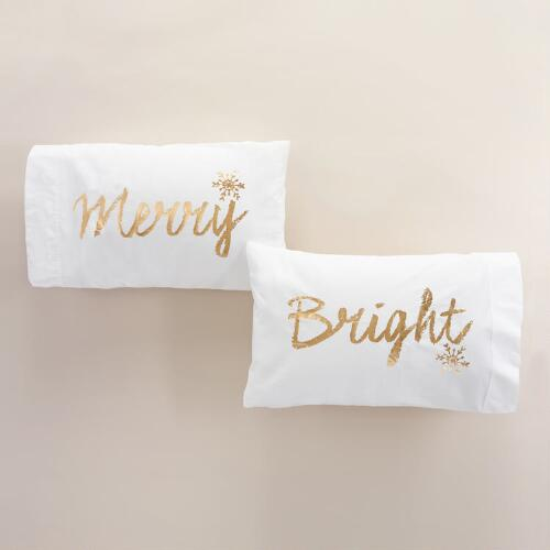 Merry and Bright Pillowcases, Set of 2