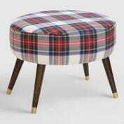 Oval Stewart Dress Plaid Upholstered Ottoman
