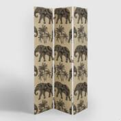 Khaki Elephant Upholstered Screen