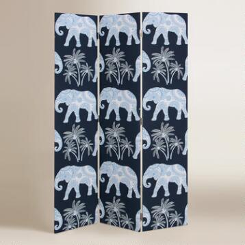 Blue Elephant Upholstered Screen