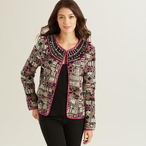 Pink Print Cotton Aimee Jacket