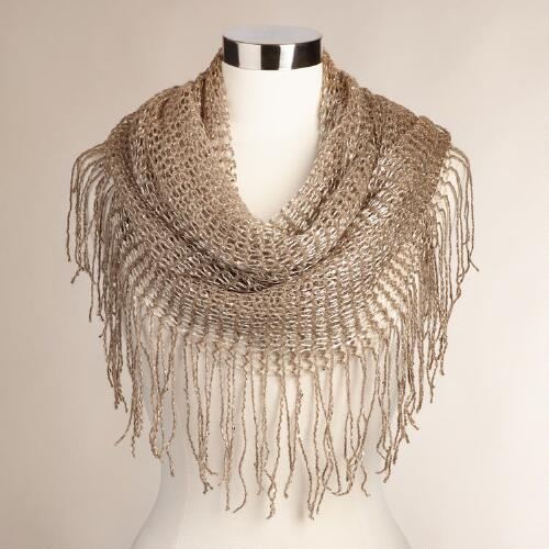 Taupe Sequin Open Weave Infinity Scarf with Fringe