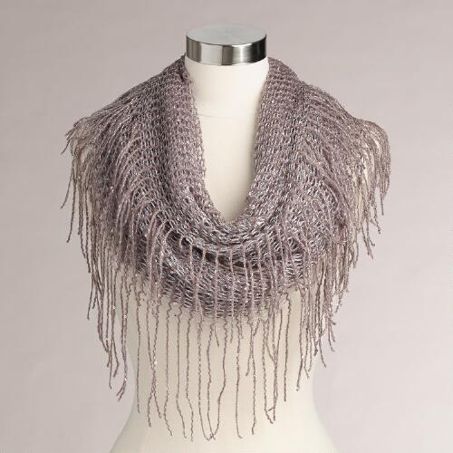 Lavender Sequin Open Weave Infinity Scarf with Fringe