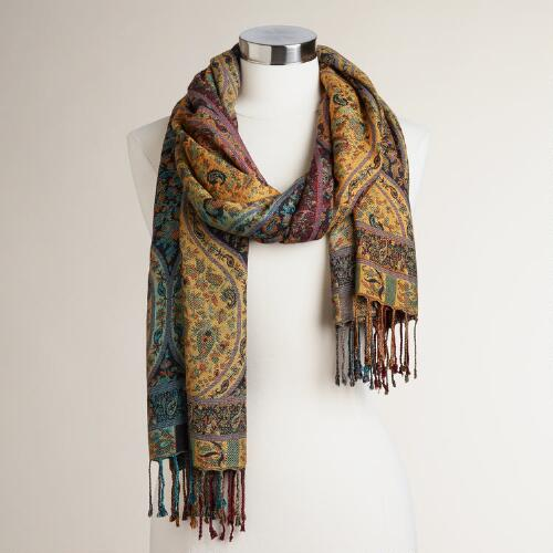 Wide Earthy Jacquard Scarf