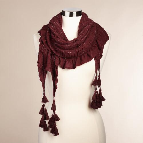 Wine Ruched Metallic Scarf with Fringe