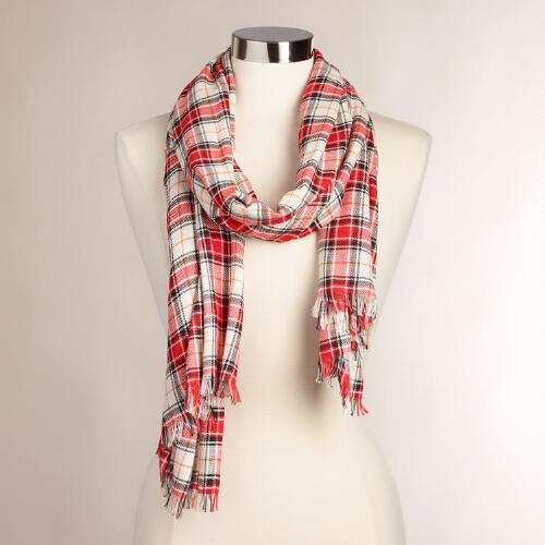 Red Plaid Infinity Scarf with Fringe