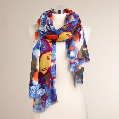 Blue, Brown and Plum Floral Scarf
