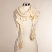 Ivory Ruched Scarf with Fringe
