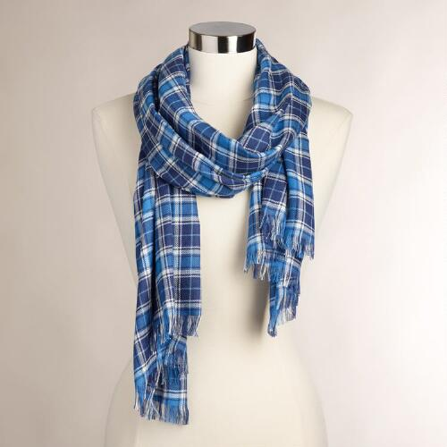 Blue Plaid Infinity Scarf with Fringe