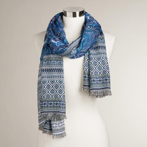 Blue Scarf with Jacquard Border