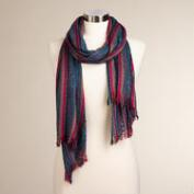 Jewel Tone Metallic Stripe Scarf