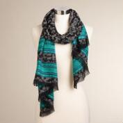 Gray Floral Scarf with Blue Border