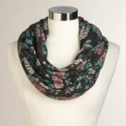 Black and Pink Floral Infinity Scarf
