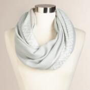 Gray Infinity Scarf with Border