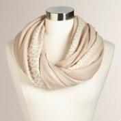 Tan Infinity Scarf with Border