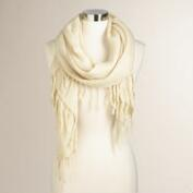 Ivory Knit Infinity Scarf with Fringe