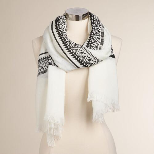 White and Black Tribal Border Scarf