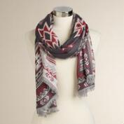 Red and Lavender Geometric Scarf