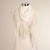 Ivory Lace Scarf with Fringe