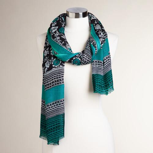 Black White and Teal Frayed Scarf
