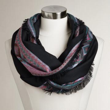 Black Infinity Scarf with Geometric Border