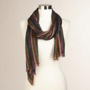 Olive Metallic Striped Scarf