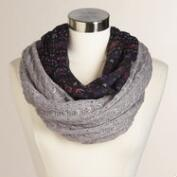Gray Mixed Knit Infinity Scarf