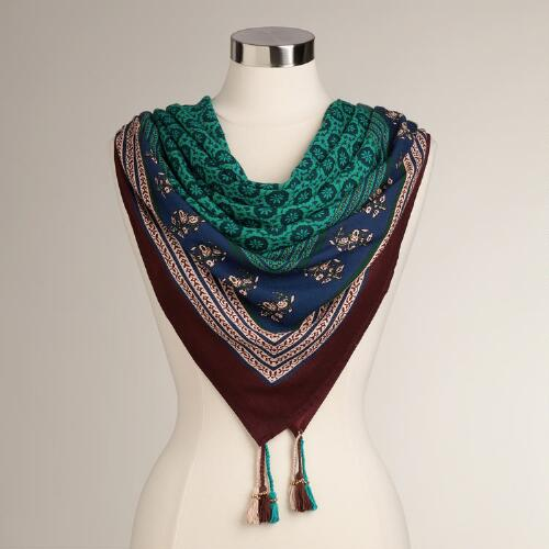 Large Turquoise and Brown Square Scarf with Tassels