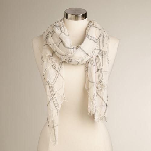 Large Cream and Black Plaid Scarf