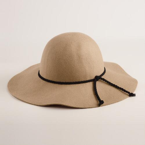 Tan Floppy Wool Hat with Braided Tie