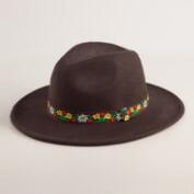 Dark Brown Wool Fedora with Folk Band