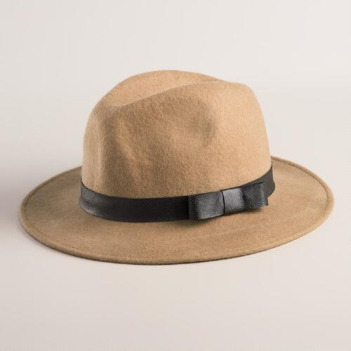 Camel Wool Fedora with Faux Leather Band