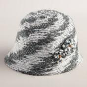 Gray Marled Knit Cloche