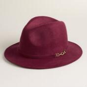 Wine Wool Fedora with Chain