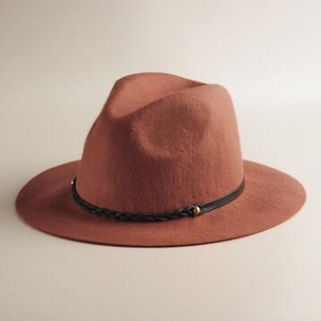 Rust Fedora with Leather Braid