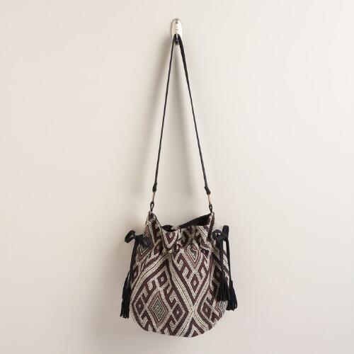 Black, Ivory and Wine Bucket Bag