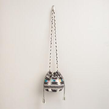 Small Black and Ivory Tribal Bucket Bag