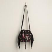 Small Black Suede Bucket Bag with Fringe