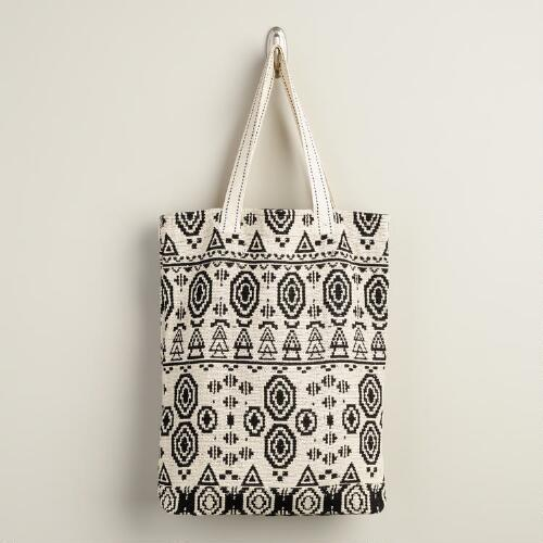 Black and White Woven Tote Bag