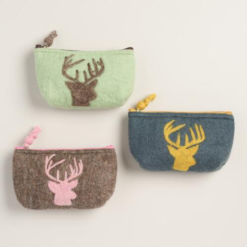 Felt Stag Pouches, Set of 3