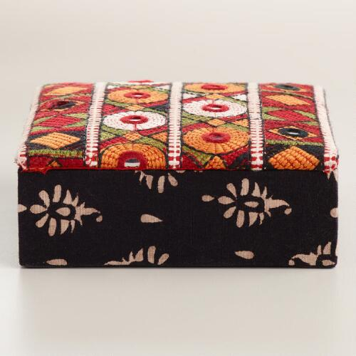 Embroidered Fabric Jewelry Box