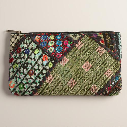 Large Embroidered Fabric Pouch