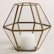 Clear Glass and Metal Hexagon Hurricane Lantern