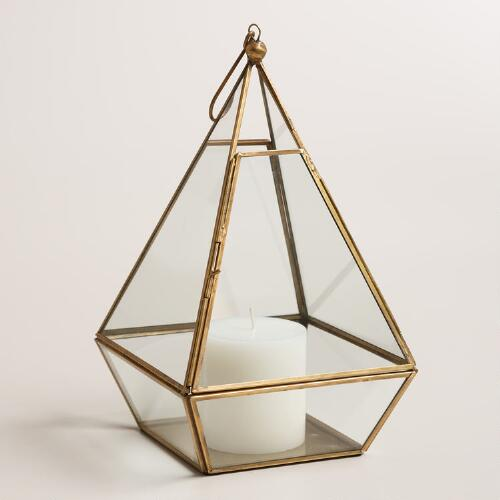 Clear Glass and Metal Pyramid Lantern