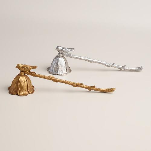 Metal Bird Candle Snuffers, Set of 2