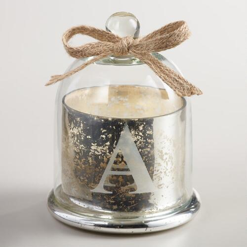 "Etched ""A"" Mercury Glass Filled Candle with Cloche"